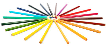 Colorful crayons in round shape Stock Image
