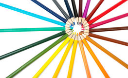 Colorful crayons in round shape Stock Photography