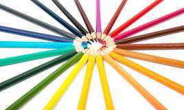 Colorful crayons in round shape Royalty Free Stock Photography