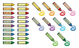 Colorful crayons and scribbles Stock Photo