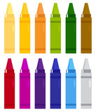 Colorful crayons set Stock Photos