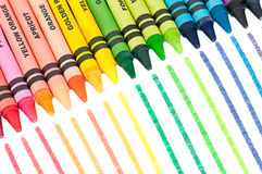 Colorful Crayons in a Slanted Row Stock Photography