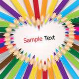 Colorful crayons sort are heart, background vector. Illustration Stock Image