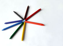 Colorful crayons star Stock Photos