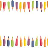 Colorful crayons top and bottom border Stock Photos