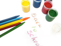 Colorful crayons and water-colors, back to school Stock Images
