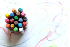 Colorful crayons on  white background Royalty Free Stock Photos
