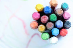 Colorful crayons on white background Stock Photo