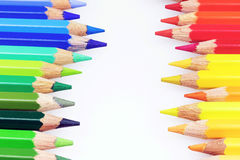 Colorful crayons on the white paper Stock Photography