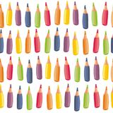 Colorful crayons on white seamless pattern Royalty Free Stock Photography