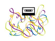 Colorful Crazy Cassette Tape Illustration Royalty Free Stock Image