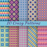 Colorful crazy vector seamless patterns (tiling) Stock Photo