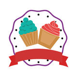 Colorful cream cupcakes set with border and label Royalty Free Stock Photo