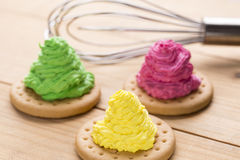 Colorful creamy cakes Stock Images