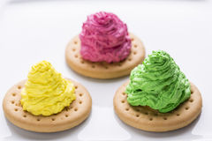 Colorful creamy cakes. On white Royalty Free Stock Image