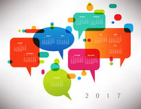 2017 Colorful Creative Calendar. With Speech Balloons Royalty Free Stock Photos