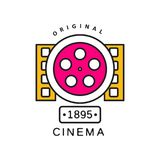 Cinema or movie logo template. Film industry label concept with big retro reel and filmstrips. Flat line vector icon. Colorful creative design of cinema or movie Royalty Free Stock Images