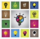 Colorful creative idea bulb icons & symbols - concept vector gra. Phic. This illustration also represents creative thinking, inventive mind, smart strategy Stock Photography