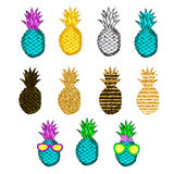 Colorful creative pineapples set. Vector illustration Stock Photo