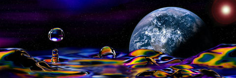 Colorful and Creative Water Drop of a new planet Royalty Free Stock Photo