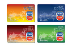 Generic colorful credit and debit card cards vector illustration