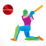colorful cricket player hit the big ball , sketch design Stock Photos