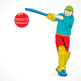 Colorful cricket player hit the big ball , sketch design Stock Image