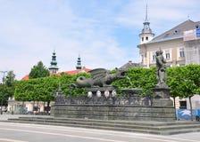 Lindwurmbrunnen (Lindworm Fountain) in Klagenfurt, Austria Stock Image