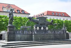 Lindwurmbrunnen (Lindworm Fountain) in Klagenfurt, Austria Royalty Free Stock Photography