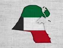 Map and flag of Kuwait on old linen. Colorful and crisp image of map and flag of Kuwait on old linen Royalty Free Stock Photo