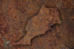 Map of Morocco on rusty metal. Colorful and crisp image of map of Morocco on rusty metal royalty free stock image