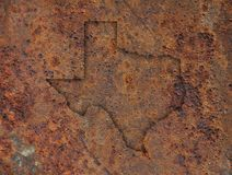 Map of Texas on rusty metal. Colorful and crisp image of map of Texas on rusty metal stock images