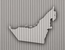 Map of United Arab Emirates on corrugated iron Stock Image