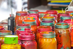 Colorful cristal bottles Stock Image