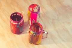 Colorful cristal bottles Royalty Free Stock Image