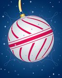 Colorful Cristmas Card With Striped Bauble Royalty Free Stock Photos