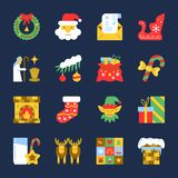 Colorful Cristmas New year flat icon set. Colorful Cristmas icon set. New year flat design symbol collection. Color concept for web, card, print, tag, poster Stock Image