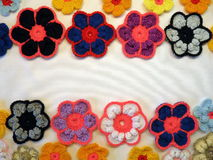 Colorful crochet flowers Stock Photography
