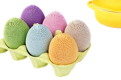 Colorful crocheted eggs in a box Royalty Free Stock Photo