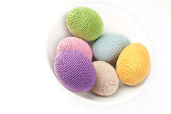 Colorful crocheted eggs Royalty Free Stock Photography
