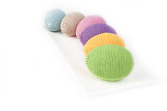 Colorful crocheted eggs Royalty Free Stock Photos