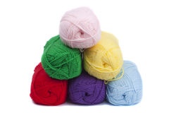 Colorful crochets of yarn Royalty Free Stock Photography