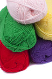 Colorful crochets of yarn Stock Image