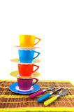 Colorful crockery for the camping Stock Image
