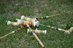 Colorful croquet mallets Royalty Free Stock Photos