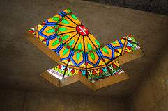 Colorful Cross. Catholic Christian Cross Vitreaux on a ceiling Stock Images