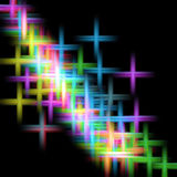 Colorful crosses on black background. Colorful crosses in yellow, blue, green, violet and orange hues on black background. Abstract background Royalty Free Stock Photos