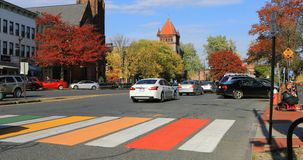 Colorful crosswalk in Northampton, Massachusetts 4K. A Colorful crosswalk in Northampton, Massachusetts 4K stock video