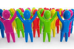 Colorful crowd. Crowd of people with raised hands Royalty Free Stock Photography