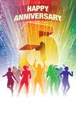 Fifth anniversary. Colorful crowd of dancing people celebrating fifth anniversary Royalty Free Stock Photos